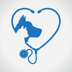 Cat and Dog. Blue Heart. Veterinary symbol