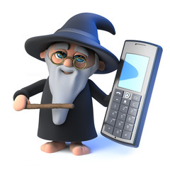 3d Funny cartoon wizard magician character holding a mobile phone