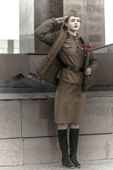Girl in a Soviet military uniform