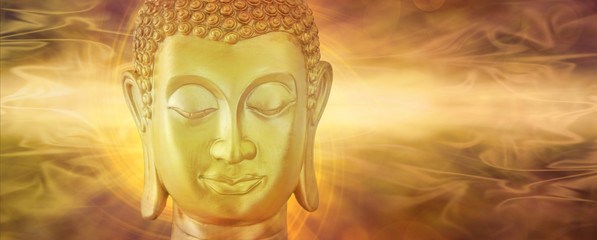 Golden Buddha in Deep Contemplation  - Mindfulness Golden Buddha on a beautiful ethereal subtle golden flowing energy background with copy space on both sides