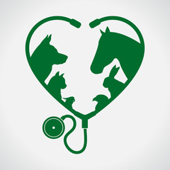 Cat and Dog. Horse and rabbit. Heart. Green