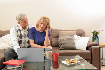 Cute elderly couple with laptop at home