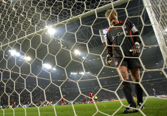 Bayern Munich's  Kahn reacts on during their German first division Bundesliga soccer match against Schalke 04 in Gelsenkirchen