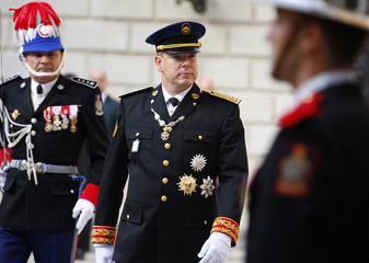 Prince's Albert II of Monaco attends a ceremony for Monaco's National Day in Monte Carlo
