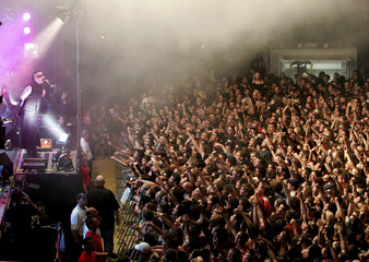 American singer Marilyn Manson performs at the Rock Oz'Arenes festival in Avenches.
