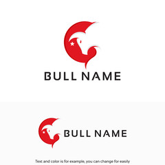 Modern Head Bull Logo designs template