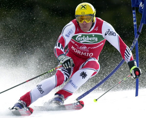 AUSTRIAN MAIER SKIS DOWN DURING FIRST RUN OF GIANT SLALOM FINAL RACE AT BORMIO.