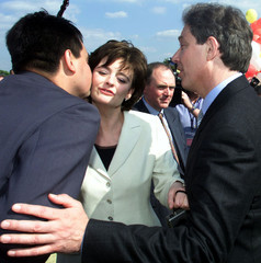 BRITAIN'S PRIME MINISTER TONY BLAIR WITH WIFE CHERIE AND CANDIDATE STEPHEN TWIGG DURING A VISIT TO ENFIELD.