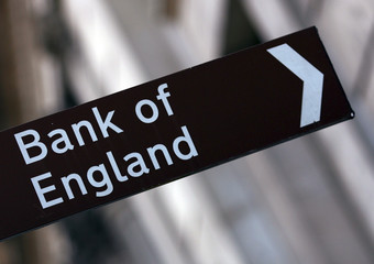 A Bank of England sign outside the Bank of England in London