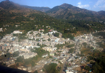 An aerial view of Bagh shows collapsed buildings after the earthquake