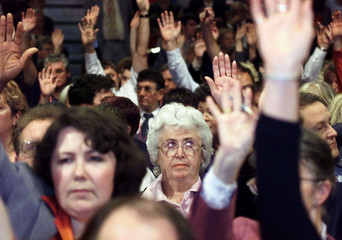 DELEGATES VOTE AT THE LABOUR PARTY CONFERENCE IN BRIGHTON.