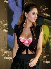Uruguayan actress and model Barbara Mori poses before she presents her collection during fashion show in Mexico City