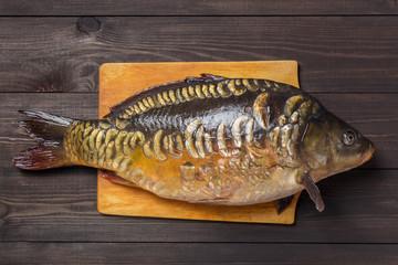 Mirror carp river fish on dark wooden table