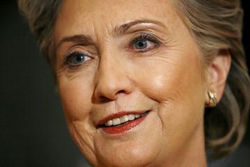 U.S. democratic presidential candidate Senator Clinton speaks to reporters in Washington