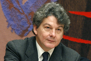 Former French Finance Minister Thierry Breton attends a parliamentary hearing in Paris