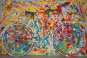 Decorative bike painted like a painted picture