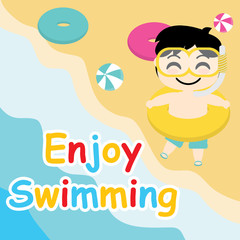 Cute boy want to swim on the beach vector cartoon, Summer postcard, wallpaper, and greeting card, T-shirt design for kids