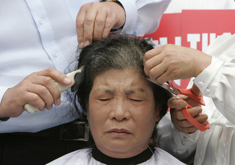 A female member of the Southern Jeolla Provincial Assembly has her hair cut to show her determination during a rally demanding the renegotiation of the U.S. beef import deal in Seoul