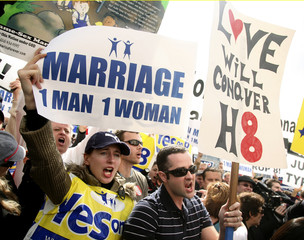 People with opposing viewpoints on Proposition 8 demonstrate outside California Supreme Court in San Francisco