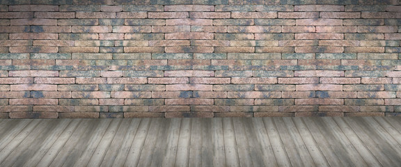 Red brick wall seamless  and wood background in retro style- texture pattern for continuous...