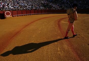 "Spanish bullfighter Jose Pedro Prados ""El Fundi"" walks on the arena before starting a bullfight in Seville"
