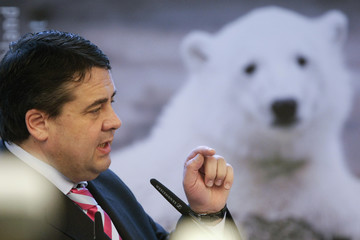 German Environment Minister Gabriel presents new Deutsche Post postage stamp with picture of polar bear cub Knut in Berlin