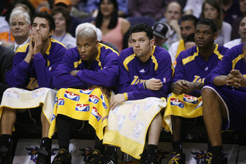 Los Angeles Lakers bench watches the Phoenix Suns during Game 2 of the NBA Western Conference quarterfinals in Phoenix, Arizona