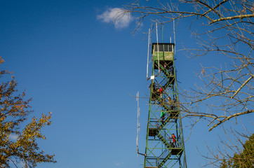 Brown County State Park fire tower on a clear day