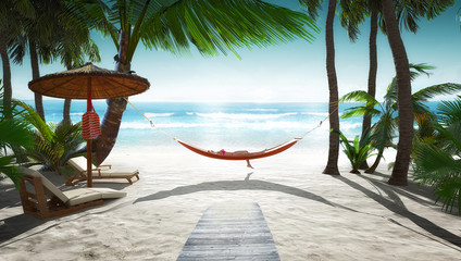 Tropical scenery with hammock Wall mural
