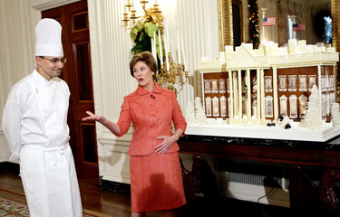 First lady Laura Bush gives a tour of the holiday decor at the White House