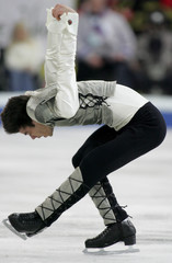Stephane Lambiel of Switzerland performs the men's free skating programme at the World Figure ...