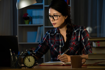 Woman architect working late at home