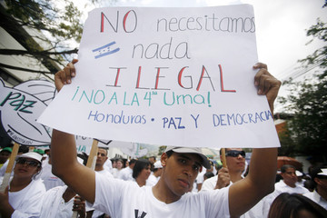 A demonstrator protests outside the OAS building in Tegucigalpa against the presidential initiative to reform the Constitution