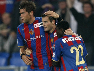 FC Basel's Frei celebrates with teammates after scoring against FC St.Gallen during their Swiss Super League soccer match in Basel