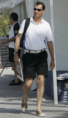 Spain's Crown Prince Felipe arrives at Golondrinas dock during the fifth stage of the 26th King's Cup Race in Mallorca