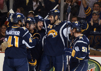 Buffalo Sabres celebrate a goal during their NHL hockey game against the Montreal Canadiens in Buffalo