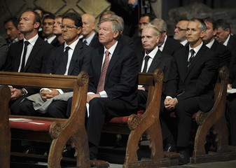 Former soccer player Shearer, managers Capello and Ferguson and former soccer player Lineker attend a Service of Thanksgiving for the late Bobby Robson at Durham Cathedral, in Durham, northern England