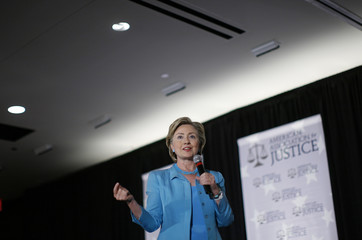 Hillary Clinton speaks during the American Association for Justice Presidential Forum in Chicago