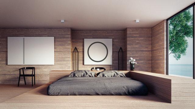 The Loft and Modern bedroom - Mock up interior/ 3D rendering interior