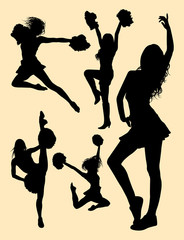 Pretty dancer, cheerleader silhouette. Good use for symbol, logo, mascot, web icon, sign, or any design you want.