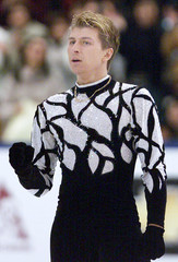 YAGUDIN OF RUSSIA REACTS AT WORLD FIGURE SKATING CHAMPIONSHIPS INNAGANO.