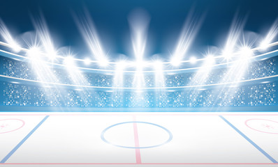 Ice Hockey Stadium with Spotlights.