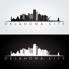 Oklahoma City USA skyline and landmarks silhouette, black and white design.