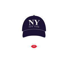 Girl with a baseball cap with text NY New York.