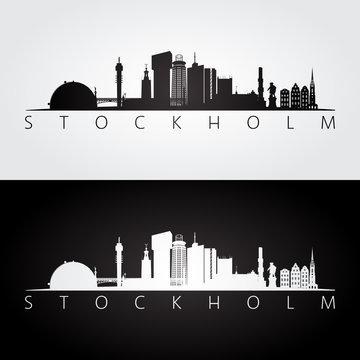 Stockholm skyline and landmarks silhouette, black and white design.