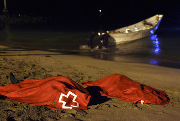 Bodies of two would-be immigrants lie on ground at Las Vistas beach on Spain's Canary island of Tenerife