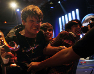 The Klaxons celebrate winning 2007 Mercury Music Award at the Grosvenor House hotel in London