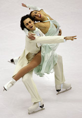 Italy's Faiella and Scali perform their original dance ice dancing programme in the European figure ...