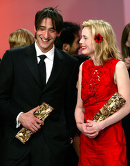 US ACTOR ADRIEN BRODY AND FRENCH ACTRESS ISABELLE CARRE AT FRENCHCESARS FILM AWARDS CEREMONY.