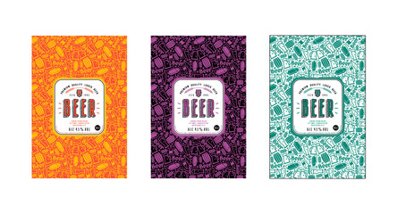 Set of seamless pattern and template labels for craft beer